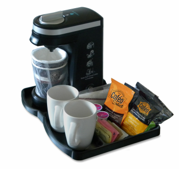 KT9i Hotel Guest Room Small Brewer Tray with Overwrap Pods