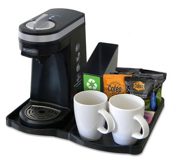 KT9i Hotel Guest Room Small Brewer Tray with SCB1 Spent Bin and Overwrap Pods