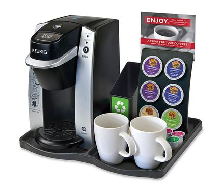 KT130 - Keurig K130 Hotel Guest Room Brewer Tray, SCF6 6 Hole K-Cup Display, SCB1 Spent Bin